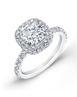 cushion-cut diamond, 2 carats, with micropavé; total weight 3.2 carats; platinum setting