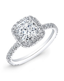 Radiant-cut diamond 2.02 carats; side diamond total carat weight, .75 carats; platinum setting