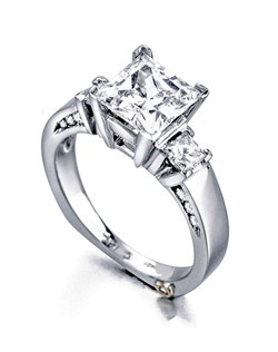 The Alluring engagement ring contains 14 diamonds, totaling 0.445 ctw. Shown with a 1ct center diamond. Center stone sold separately, not included in price. Available in yellow, white, or rose gold, and platinum. Rings can be custom made to fit any size or shape diamond or color center stone. Price excludes center stone