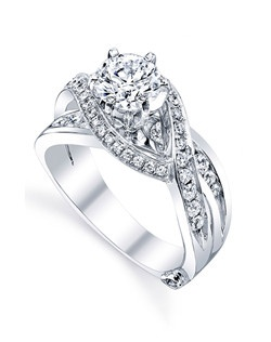 The Bedazzle engagement ring contains 45 diamonds, totaling 0.665 ctw. Shown with a 1ct center diamond. Center stone sold separately, not included in price. Available in yellow, white, or rose gold, and platinum. Rings can be custom made to fit any size or shape diamond or color center stone. Price excludes center stone