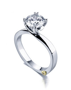 The Beloved engagement ring contains 1 diamonds, totaling 0.005 ctw. Shown with a 1ct center diamond. Center stone sold separately, not included in price. Available in yellow, white, or rose gold, and platinum. Rings can be custom made to fit any size or shape diamond or color center stone. Price excludes center stone