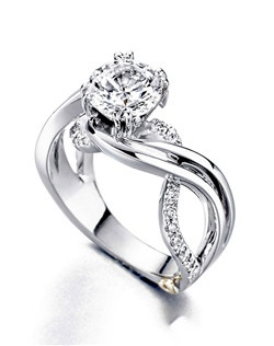 The Enchantment engagement ring contains 25 diamonds, totaling 0.245 ctw. Shown with a 1ct center diamond. Center stone sold separately, not included in price. Available in yellow, white, or rose gold, and platinum. Rings can be custom made to fit any size or shape diamond or color center stone. Price excludes center stone