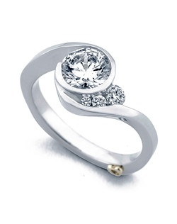 The Escape engagement ring contains 4 diamonds, totaling 0.12ctw. Shown with a 1ct center diamond. Center stone sold separately, not included in price. Available in yellow, white, or rose gold, and platinum. Rings can be custom made to fit any size or shape diamond or color center stone. Price excludes center stone