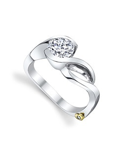 The Fire engagement ring contains 1 diamonds, totaling 0.005ctw. Shown with a 1ct center diamond. Center stone sold separately, not included in price. Available in yellow, white, or rose gold, and platinum. Rings can be custom made to fit any size or shape diamond or color center stone. Price excludes center stone