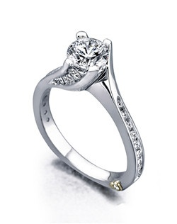 The Irresistible engagementring contains 28 diamonds, totaling 0.52ctw. Shown with a 1ct center diamond. Center stone sold separately, not included in price. Available in yellow, white, or rose gold, and platinum. Rings can be custom made to fit any size or shape diamond or color center stone. Price excludes center stone
