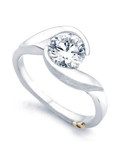 The Lilac engagement ring contains 1 diamonds, totaling 0.005ctw.  Shown with a 1ct center diamond. Center stone sold separately, not included in price. Available in yellow, white, or rose gold, and platinum. Rings can be custom made to fit any size or shape diamond or color center stone. Price excludes center stone