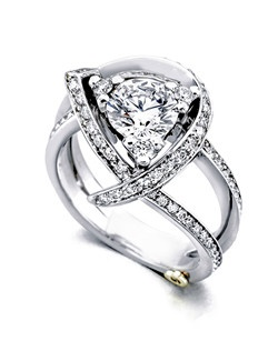 The Luxury engagement contains 98 diamonds, totaling 0.66ctw. Shown with a 1ct center diamond. Center stone sold separately, not included in price. Available in yellow, white, or rose gold, and platinum. Rings can be custom made to fit any size or shape diamond or color center stone. Price excludes center stone