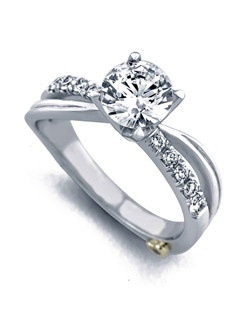 The Surge engagement ring contains 11 diamonds, totaling 0.195ctw. Shown with a 1ct center diamond. Center stone sold separately, not included in price. Available in yellow, white, or rose gold, and platinum. Rings can be custom made to fit any size or shape diamond or color center stone. Price excludes center stone