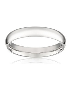 Choose an elegant, classic look with this 4mm comfort fit women's wedding band, crafted in strong and radiant 950 platinum. This beautiful band has a slightly rounded shape and a bright polished finish. The comfort fit design features a rounded polished interior that allows the ring to slide easily and rest comfortably on the finger. Platinum is a beautiful and popular precious metal, valued for its extreme rarity and natural silver-white luster. It does not splinter or wear away easily, making it the most durable choice for everyday wear. Because it is 95% pure platinum, 950 platinum is also hypoallergenic, making it an ideal choice for those with metal sensitivities. NA, plain bands without stones or settings
