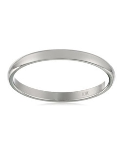 Women's 10k White Gold Traditional Plain Wedding Band (2 mm)
