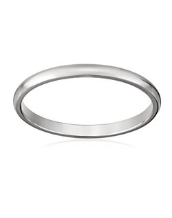 This traditional 2mm women's wedding band shines in radiant and durable 14 karat white gold. The slim band has a rounded shape and a bright polished finish. This ring is a beautiful choice for the woman who prefers a simple, classic look.