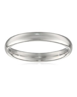 Choose an elegant, classic look with this 3mm comfort fit women's wedding band, crafted in strong and radiant 950 platinum. This beautiful band has a slightly rounded shape and a bright polished finish. The comfort fit design features a rounded polished interior that allows the ring to slide easily and rest comfortably on the finger. Platinum is a beautiful and popular precious metal, valued for its extreme rarity and natural silver-white luster. It does not splinter or wear away easily, making it the most durable choice for everyday wear. Because it is 95% pure platinum, 950 platinum is also hypoallergenic, making it an ideal choice for those with metal sensitivities. NA, plain bands without stones or settings