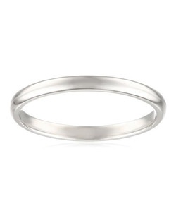This traditional 2mm women's wedding band shines in strong and radiant 950 platinum. The slim band has a rounded shape and a bright polished finish. This ring is an excellent choice for the woman who prefers a simple, classic look. Platinum is a beautiful and popular precious metal, valued for its extreme rarity and natural silver-white luster. It does not splinter or wear away easily, making it the most durable choice for everyday wear. Because it is 95% pure platinum, 950 platinum is also hypoallergenic, making it an ideal choice for those with metal sensitivities.