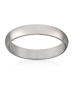 This traditional 3mm women's wedding band shines in 10 karat white gold. The band has a slightly rounded shape and a bright polished finish. This ring is a beautiful choice for the woman who prefers a simple, classic look. NA, plain bands without stones or settings