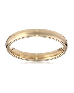 This 3mm comfort fit women's wedding band shines in radiant and durable 14 karat yellow gold. The band has a slightly rounded shape and a bright polished finish. This ring is a beautiful choice for the woman who prefers a simple, classic look. The comfort fit design features a rounded polished interior that allows the ring to slide easily and rest comfortably on the finger.