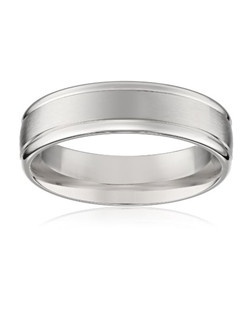 Men's 14k White Gold 6mm Comfort Fit Plain Wedding Band with Satin Center