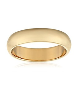 This traditional 4mm women's wedding band shines in 10 karat yellow gold. The band has a bright polished finish and slightly rounded edges for comfortable wear. This ring is a beautiful choice for the woman who prefers a simple, classic look. NA, plain bands without stones or settings