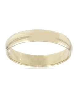 Choose a classic look with this traditional 4mm men's wedding band, made from brightly polished 10 karat yellow gold. The solid, plain design is simple and enduring, with rounded edges for comfortable wear. NA, plain bands without stones or settings