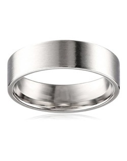 A satin finish lends a contemporary look to this men's 6mm wedding band. The comfort fit band is crafted in 10 karat white gold and features a polished, rounded interior that allows the ring to slide on easily and rest comfortably on the finger. NA, plain bands without stones or settings