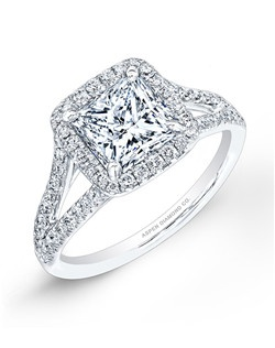 Princess-cut diamond, 2.12 carats, with pavé; total weight 3.14 carats; platinum setting