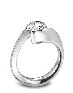 Gelin Abaci platinum and tension-set diamond engagement ring.