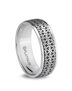 Dora International men's comfort fit Venetian Lace wedding ring with intricate and bold laser design styled for today's man.