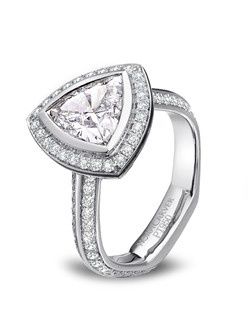 Noam Carver Transcendent Trillion diamond engagement ring featuring a trillian cut diamond and 114 diamonds. The ring also features black enamel accents. JCK 2014 Platinum Innovation Awards Winner.