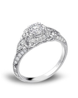 Gabriel & Co. platinum Victorian halo engagement ring. JCK 2014 Platinum Innovation Awards Winner.
