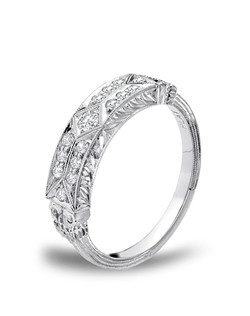 "Whitehouse Bros ""Greek Revival"" platinum and diamond wedding band. JCK 2014 Platinum Innovation Awards Winner."