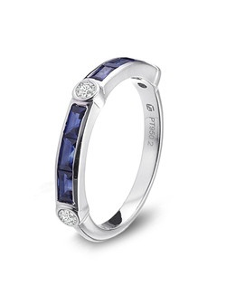 Gumuchian platinum, diamond and sapphire half way empire band.