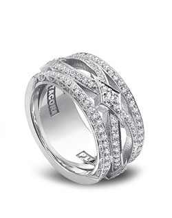 You won't be able to take your eyes off of this new ladies band from Tacori's RoyalT collection! With diamonds all around the unique detailing and shapes on the band, this ring is the perfect juxtaposition of heirloom and contemporary flair.