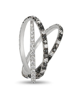 Martin Flyer three row black and white diamond micropave band set in platinum.