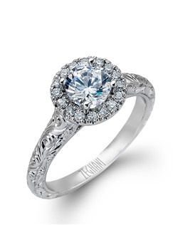 14K white gold ring comprised of 0.23ctw round white diamonds. excluding the center stone