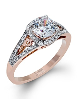 14K rose gold ring comprised of 0.23ctw round white diamonds. excluding the center stone