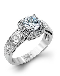 14K white gold ring comprised of 0.10ctw round white diamonds. excluding the center stone