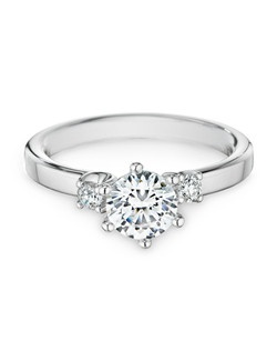 18K white gold, diamonds, round, 1.00ct center, 0.13ct total weight side stones