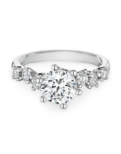 18k white gold, diamonds, round, 1.50ct center, 0.47ct total weight side stones Price excludes center stone