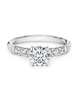 18k white gold, diamonds, round, 1.00ct center  Price excludes center stone
