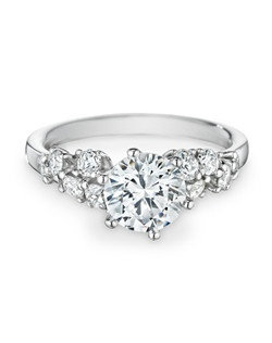 18k white gold, diamonds, round, 1.50ct center, 0.63ct total weight side stones