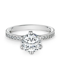 18K white gold, diamonds, round, 2.00ct center