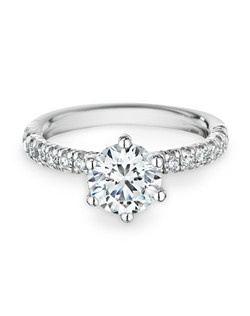 18K white gold, diamonds, round, 1.50ct center