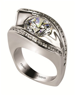 This 14kt White Semi-Mount is shown with a 3ct diamond center, and .58ctw diamonds. Available in 14/18k white, yellow, or rose gold, platinum, or palladium. Ring can be customized to fit any size/shape diamond or gemstone center. Center stone sold separately.