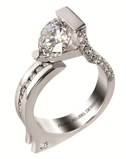 This 14kt White Semi-Mount is shown with a 2ct diamond center, and .50ctw diamonds. Available in 14/18k white, yellow, or rose gold,  platinum, or palladium. Ring can be customized to fit any size/shape diamond or gemstone center. Center stone sold separately.
