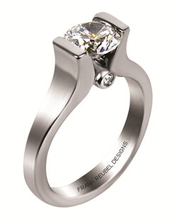 This 14kt White Semi-Mount is shown with a 1ct diamond center, and .04ctw diamonds. Available in 14/18k white, yellow, or rose gold, platinum, or palladium. Ring can be customized to fit any size/shape diamond or gemstone center. Center stone sold separately.