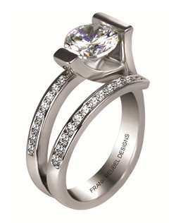 This 14KT White Semi-Mount is shown with a 2ct diamond center, and .52ctw diamonds. Available in 14/18k white, yellow, or rose gold, platinum, or palladium. Ring can be customized to fit any size/shape diamond or gemstone center. Center stone sold separately.