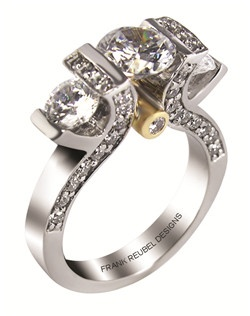 This 14kt two-tone White/Yellow Semi-Mount is shown with a 3 diamond center, and .80ctw diamonds. Available in 14/18k white, yellow, or rose gold, platinum, or palladium. Ring can be customized to fit any size/shape diamond or gemstone center. Center stone sold separately.