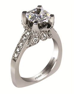 This 14kt White Semi-Mount is shown with a 1.5ct diamond center, and .36ctw diamonds. Available in 14/18k white, yellow, or rose gold, platinum, or palladium. Ring can be customized to fit any size/shape diamond or gemstone center. Center stone sold separately.