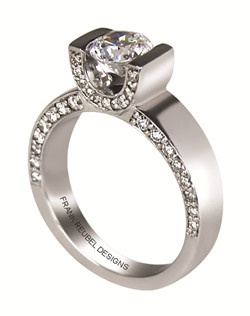 This 14kt White Semi-Mount is shown with a 1.5ct diamond center, and .40ctw diamonds. Available in 14/18k white, yellow, or rose gold, platinum, or palladium. Ring can be customized to fit any size/shape diamond or gemstone center. Center stone sold separately.