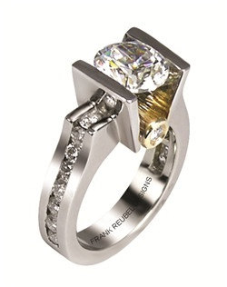 This 14kt two-tone White/Yellow Semi-Mount is shown with a 2ct diamond center, and .90ctw diamonds. Available in 14/18k white, yellow, or rose gold, platinum, or palladium. Ring can be customized to fit any size/shape diamond or gemstone center. Center stone sold separately.
