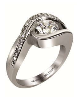 This 14kt White Semi-Mount is shown with a 1ct diamond center, and .25ctw diamonds. Available in 14/18k white, yellow, or rose gold, platinum, or palladium. Ring can be customized to fit any size/shape diamond or gemstone center. Center stone sold separately.
